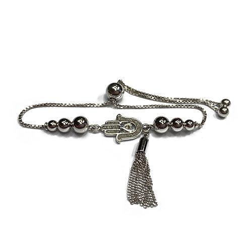 Sterling Silver 925 Hamsa Hand & Tassle Adjustable Bracelet
