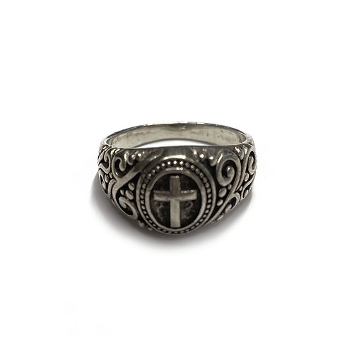Sterling Silver 925 Size R Antique Finish Cross Ring
