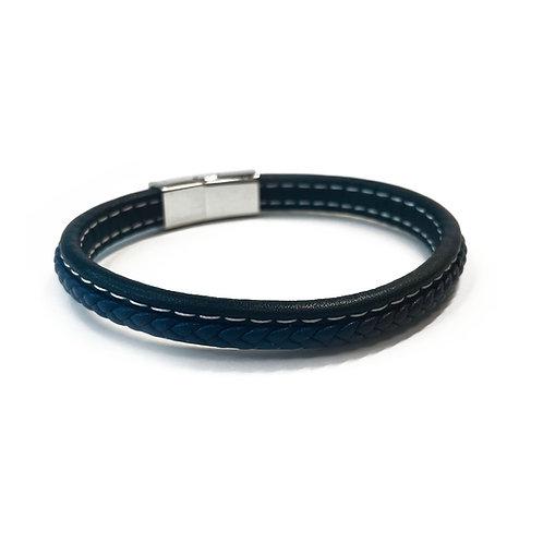 Real Leather Braided Black & Blue Bracelet