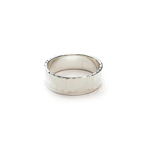 Sterling Silver 925 6mm Band Hammered Ring