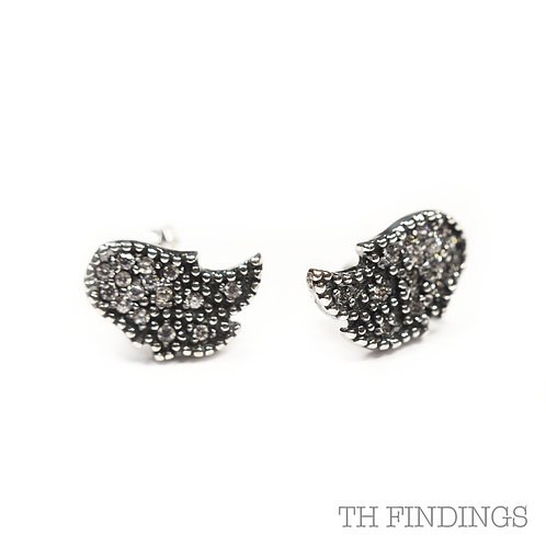 Sterling Silver 925 Antique Finish Cubic Zirconia Comet Earstuds