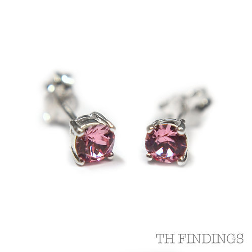 Sterling Silver 925 4mm Round Rose Cubic Zirconia Earstuds