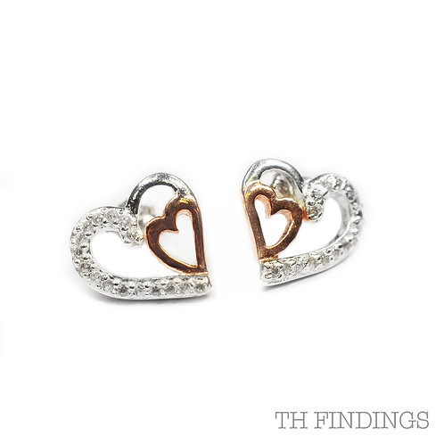 Sterling Silver 925 Rose Gold Plated Cubic Zirconia Heart Earstuds