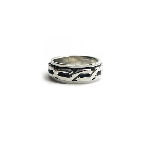 Sterling Silver 925 Antique Finish Industrial Spinner Ring