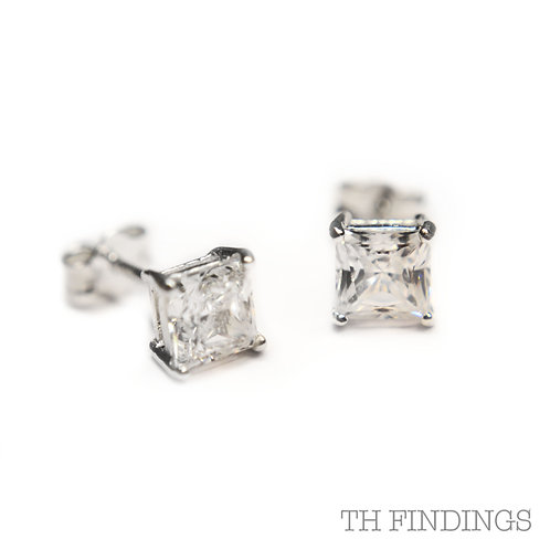 Sterling Silver 925 5mm Square Cubic Zirconia Earstuds