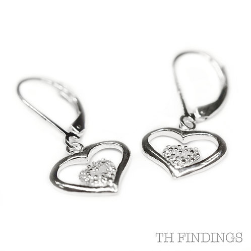 Sterling Silver 925 Cubic Zirconia Heart Shaped Kidney Earrings