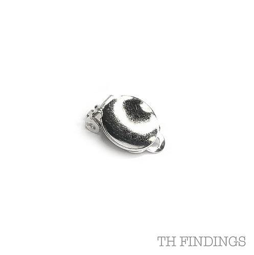 Domed 11mm Earclip in Brass & Silver Plate