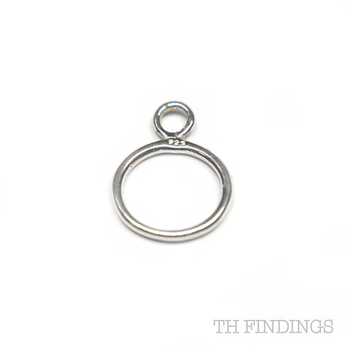 Sterling Silver 10mm Closed Jump Ring with Soldered Ring Bail