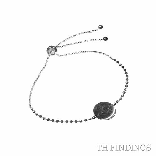 Sterling Silver 925 Sliding Disc Bracelet