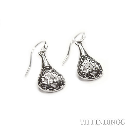 Sterling Silver 925 Antique Finish Filigree Teardrop Earrings
