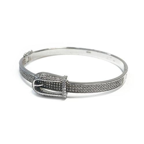 Sterling Silver 925 CZ Belt Bangle