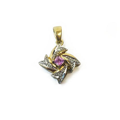 9ct Gold Pink Sapphire Pendant