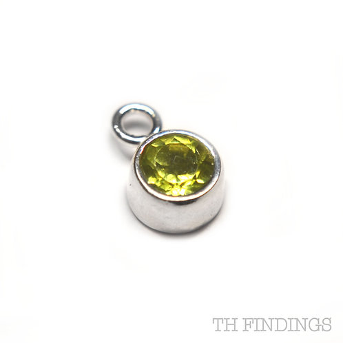 Sterling Silver 925 Peridot CZ August Birthstone Dropper