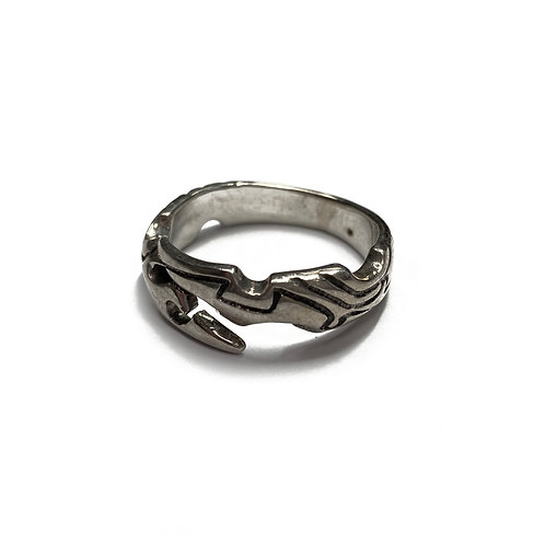 Sterling Silver 925 Size X Antique Finish Scorpion Tail Ring