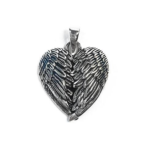 Sterling Silver 925 Angel Wing Heart Pendant