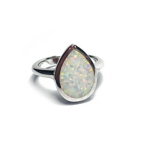 Sterling Silver 925 Iridescent Opal Teardrop Ring