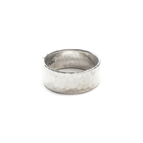 Sterling Silver 925 8mm Band Hammered Ring