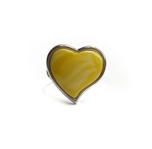 Sterling Silver 925 Amber Heart Ring