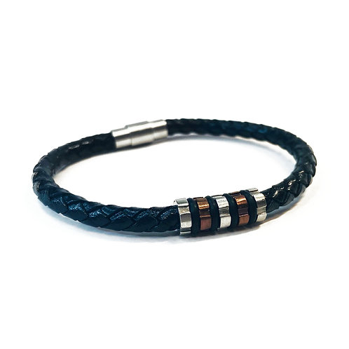 """8.5"""" Real Leather Braided Bracelet"""