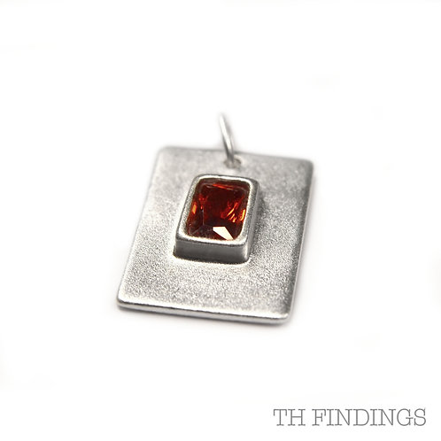 Sterling Silver 925 Square Red Cubic Zirconia Pendant