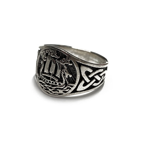 Sterling Silver 925 Size W Antique Finish Nautical Celtic Knot Ring