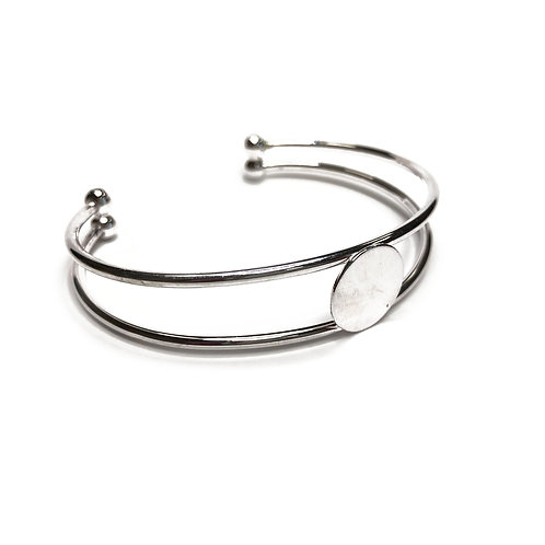 Silver Plated Double Wire Bangle 14mm Disc
