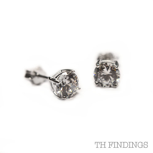 Sterling Silver 925 6mm Brilliant Cut Cubic Zirconia Earstuds