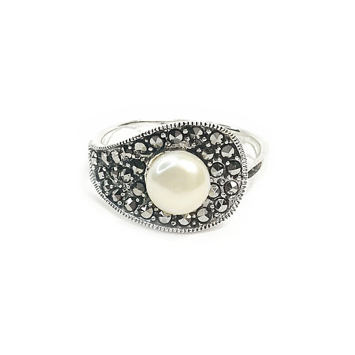 Sterling Silver Pave Pearl Ring