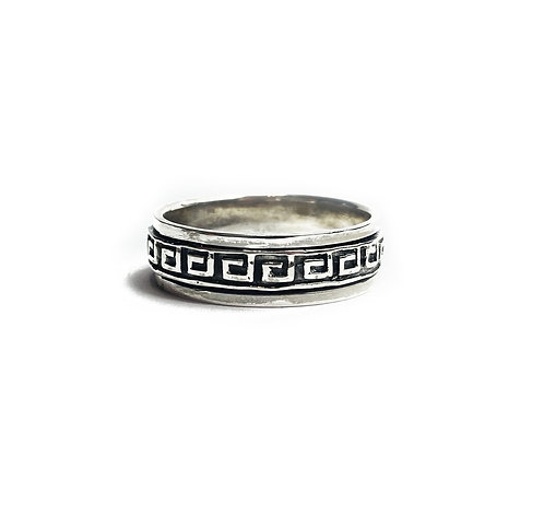 Sterling Silver 925 Antique Finish Grecian Wave Spinner Ring