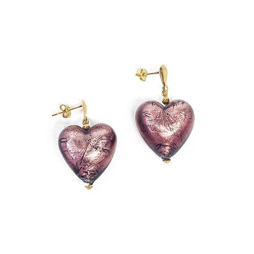 9ct Gold Murano Glass Heart Earrings