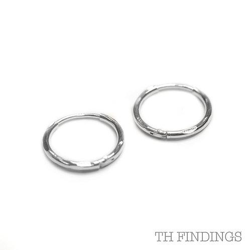 Sterling Silver 925 13mm Sleeper Hoop Earrings