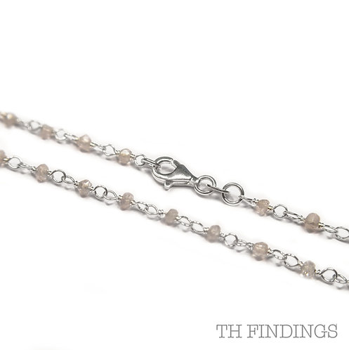 """Sterling Silver 925 24"""" Crystal Bead Necklace"""
