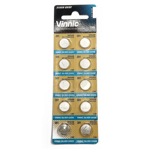 10 x Vinnic 391 AG8 Silver Oxide Cell Battery