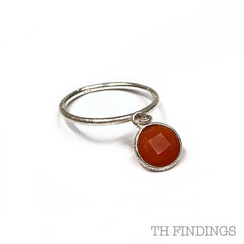 Carnelian Charm Semi Precious Sterling Silver Ring