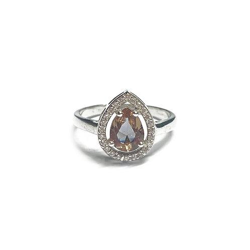Sterling Silver 925 Teardrop Topaz CZ Halo Ring