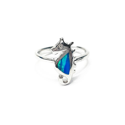 Synthetic Opal Seahorse Ring