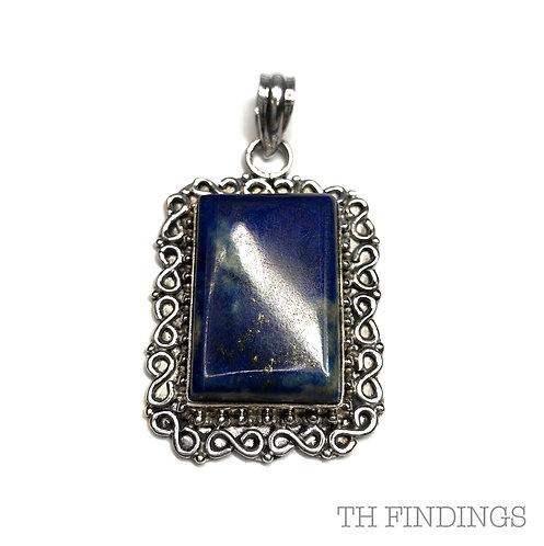 Blue Lapis Semi Precious, Sterling Silver Statement Pendant