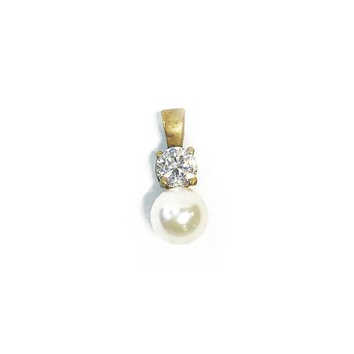 9ct Gold Pearl & CZ Pendant