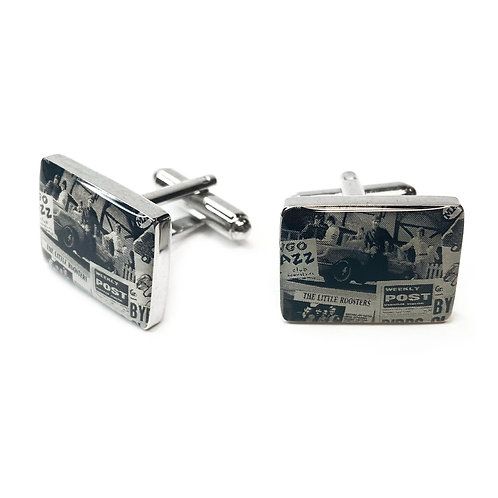Boxed Silver Plated Retro Cufflinks