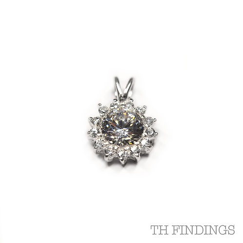 Sterling Silver 925 Cubic Zirconia Large Round Pendant