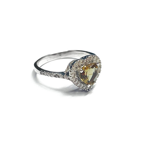 Sterling Silver 925 Topaz CZ Heart Halo Ring