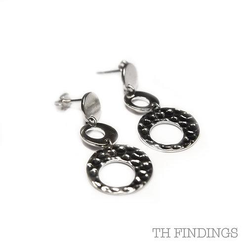 Sterling Silver 925 3 Circle Drop Stud Earrings