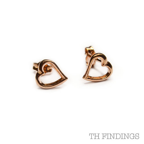 Sterling Silver 925 Rose Gold Cut Out Heart Earstuds