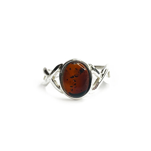 Sterling Silver 925 Dark Amber Stone Ring