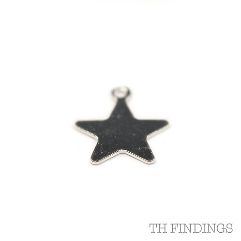 Sterling Silver 925 Stamped Star Charm