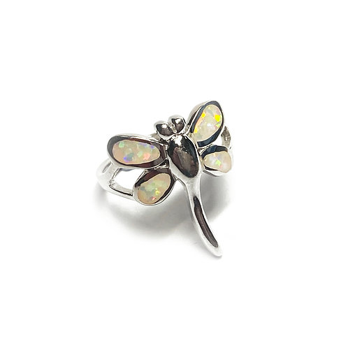 Sterling Silver 925 Iridescent Opal Dragonfly Ring
