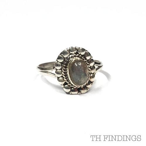Paua Shell Precious Sterling Silver Ring - Size P