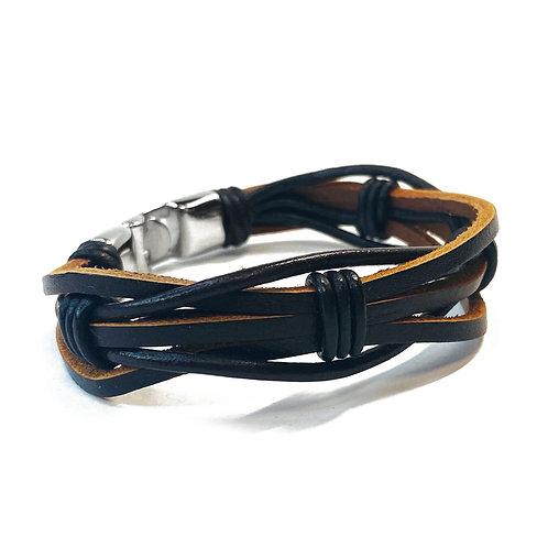 Real Leather Brown Braid Bracelet
