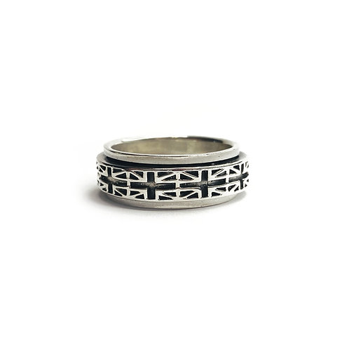 Sterling Silver 925 Antique Finish Union Jack Spinner Ring