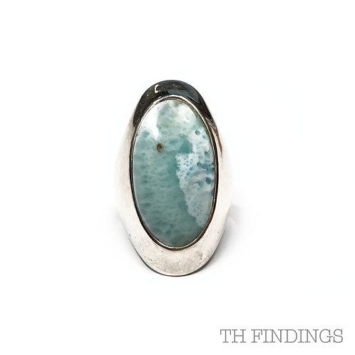 Turquoise Larimar Semi Precious Sterling Silver Ring - Size L